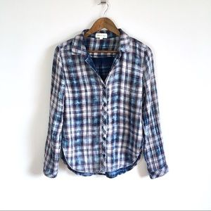 Anthropologie Cloth & Stone Plaid Button Down, M